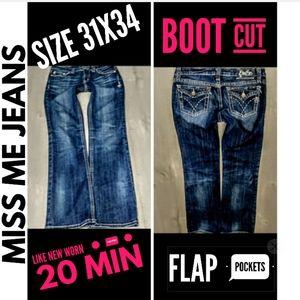 Miss Me Jeans Size 31X34 Flap Pocket Boot Cut Euc